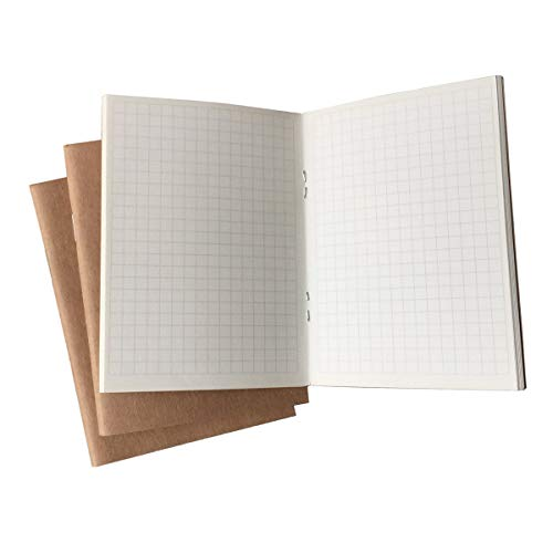 3-Pack Passport Book, Refills for Passport Size Travelers Notebook, Lined/Ruled Paper, 96 Sheets