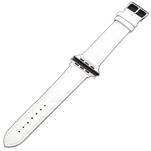Presilla de cuero Adecuado para la serie Apple-Watch Band 1 2 3 4 5 Adecuado para iWatch-Strap 42MM 38MM 40mm 44mm-Blanco plateado, 42mm