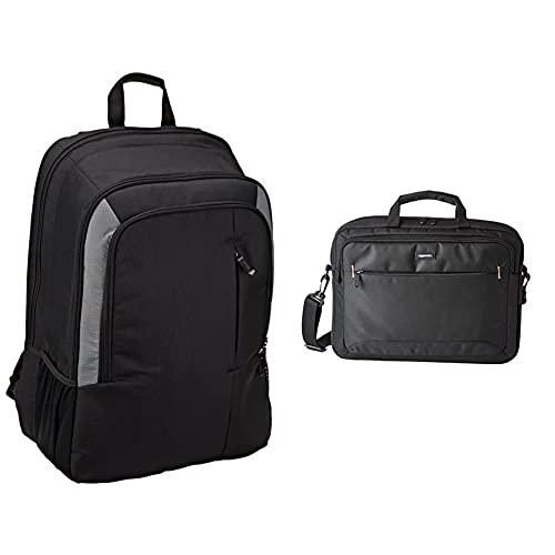 Amazon Basics - Mochila Para Portátil De 15 Pulgadas - Color Negro + - Maletín Compacto Para Portátil Con Correa Para El Hombro Y Bolsillos Para Accesorios (15,6Pulgadas, 40Cm), Negro, 1Unidad