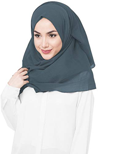 InEssence©, Kopftuch / Schal / Hidschab, aus Viskose, für Damen Gr. Large, Dunkles Schieferblau