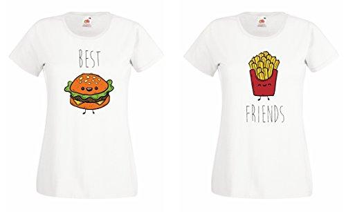 TRVPPY Partner Damen T-Shirts Burger & Pommes Best Friends BFF, Burger S, Pommes S, Weiß