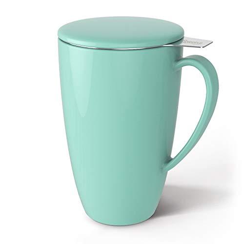 Sweese 201.109 Teetasse mit Deckel und Sieb, Becher aus Porzellan für Losen Tee Oder Beutel, Minzgrün, 400 ml