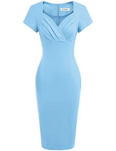 MUXXN Womens Light Blue Color Asymmetrical Neckline Summer Casual Dress (Airy Blue L)