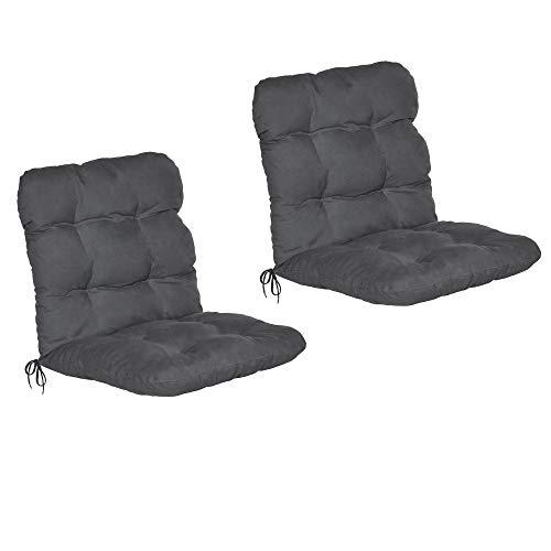 Beautissu Set de 2 Cojines para sillas de balcón Flair NL - Cojín para Asientos Exteriores con Respaldo bajo - 120x50x8 cm - Gris Grafito