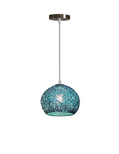 Lampadario Minimalista Pendente Plafoniere Vintage - Sospensione Lampada in Metallo di Grandi Dimensioni Sfere Colorate con Paralumi (Blu)