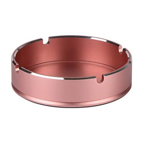 Igemy Beständiger Runder Design Aluminiumlegierung Aschenbecher mit Hoher Temperaturbeständigkeit (Rosegold)