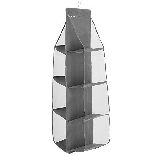 SPRINGOS Kleiderschrank-Organizer mit 8 Fächern, HxBxT: 115x34x31 cm, Textil Garderobe, Taschenorganizer , Handtaschen Aufbewahrung, faltbar (Grau - 8 Fächer)