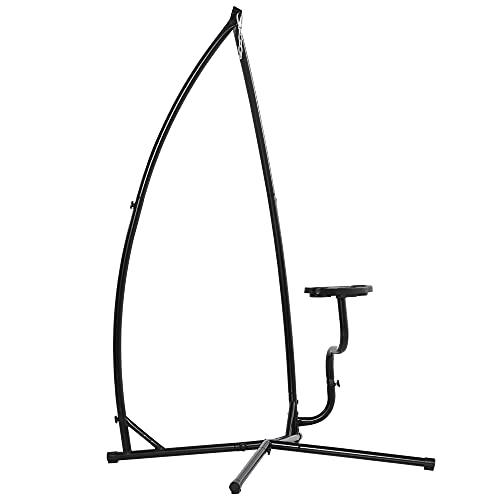Outsunny Soporte para Silla Colgante 190 cm Sostén para Columpio con Mesita Lateral Carga Máx. 120 kg Estructura de Metal para Patio Jardín Negro