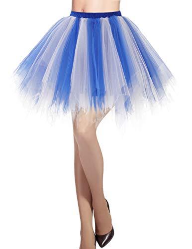 DRESSTELLS Damen Tüllrock 50er Rockabilly Petticoat Tutu Unterrock Kurz Ballett Tanzkleid Ballkleid Abendkleid Gelegenheit Zubehör Royal White M