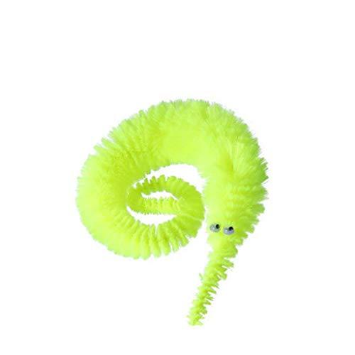 Luccase Magischer Wurm Spielzeug 8,7 x 0,7 Zoll Wurm Spielt Wiggly Twisty Fuzzy Karneval Party Favors Lebendige Verwackeln Wurm Katzenspielzeug für Freunden und Familie (Gelb)