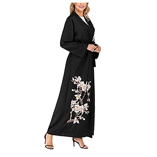 Lazzboy Vintage Women Abaya Long Maxi DRE Arab Jilbab Muslim Robe Islamic Kaftan Muslim Kleider, Damen Lange Arabische Muslimische Islamischer Dubai Kleidung(Schwarz,S)