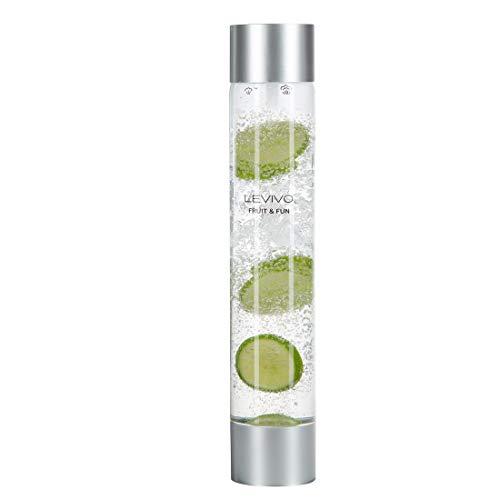 Levivo Flasche für Wassersprudler Fruit & Fun Sprudler Slim, stylische Flasche für 1 Liter Getränk, mit großer Öffnung zum Befüllen mit Obst, Gemüse etc. Farbe: silber