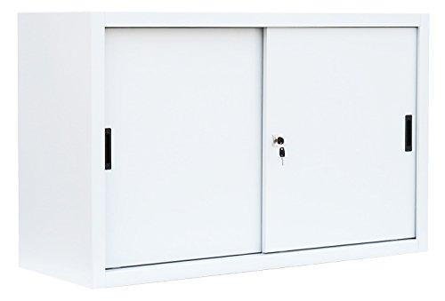 Schiebetürenschrank kompl. montiert und verschweißt Schiebetüren Büro Aktenschrank Sideboard aus Stahl Weiß 750 x 1600 x 450 mm (H x B x T) 550137