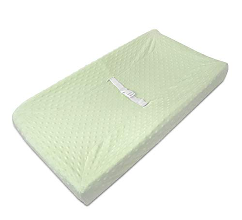 American Baby Company Heavenly Soft Minky Dot Fitted Contoured Changing Pad Cover, Celery Puff, for Boys and Girls