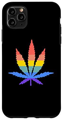 iPhone 11 Pro Max Weed Leaf Gay Lesbian Pride Cannabis Marijuana LGBTQ Flag Case