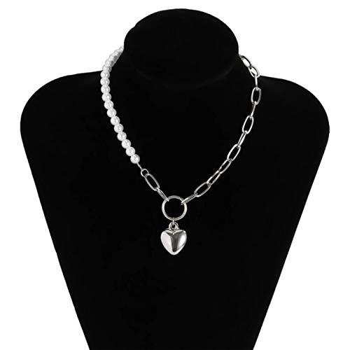 Punk Imitation Pearl Choker Necklace Collar Statement Gold Color Love Heart Lasso Pendant Necklace for Women Jewelry