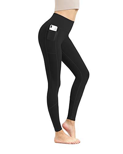 EUSIX hohe Taille Yoga-Hosen mit Taschen für Frauen Bauch Kontrolle, Workout 4-Wege-Stretch Nicht See-Through Yoga Leggings Schwarz M