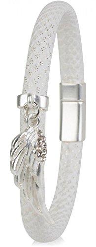 styleBREAKER Armband mit Flügel Anhänger und Strass Besatz, Schuppen Optik, Magnetverschluss, Damen 05040057, Farbe:Weiß