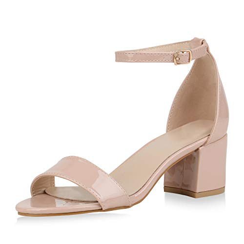 SCARPE VITA Klassische Damen Sandaletten Basic Wildleder-Optik Sommer Schuhe Blockabsatz Riemchensandaletten Absatzschuhe 177364 Creme Lack 40