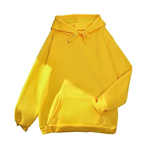 MEIPIQI Sudadera para mujer y niña, monocolor, con bolsillo, informal, holgada, de manga larga, talla grande, con capucha, elegante, para deporte, fitness, amarillo, XL