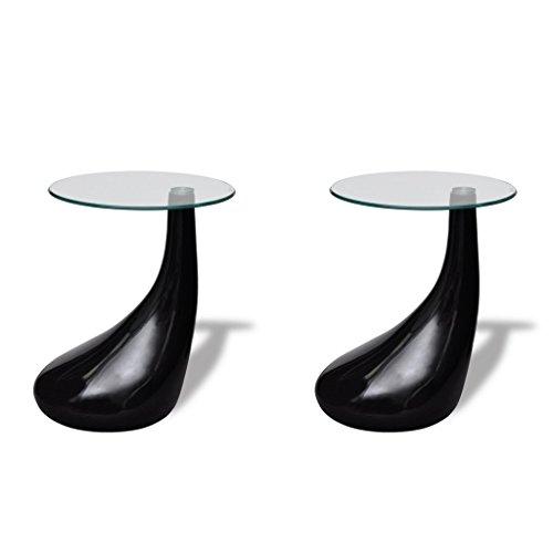 Table basse et dessus de table Verre rond Noir brillant 2 pcs