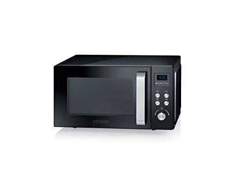 SEVERIN Micro-ondes 2-en-1, 800 W, Avec fonction gril, Gril et plaque tournante inclus (Ø 24,5cm), MW 7750, Noir
