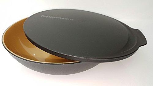 Tupperware Allegra Servierschale Schüssel mit Deckel schwarz gold Weihnachten 1,5 Liter Salat Buffet edel glänzend