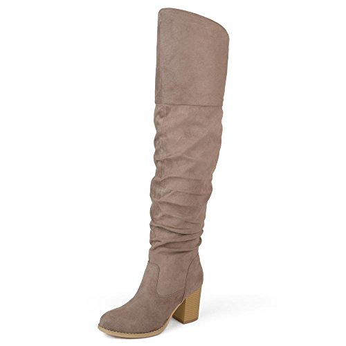 Brinley Co. Womens Regular Wide Calf and Extra Wide Calf Ruched Stacked Heel Faux Suede Over-The-Knee Boots Taupe, 10.5 Wide Calf US