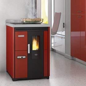 Eva Calòr Nina - Estufa de pellets con horno y placa de cocción: color marfil, placa de cocción - metal