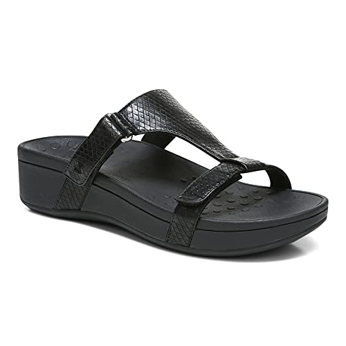Vionic Women's Pacific Ellie Wedge Sandals - Ladies Casual Sneakers with Concealed Orthotic Arch Support Black 8 Medium US