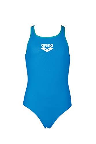 arena Mädchen Sport Badeanzug Biglogo (Schnelltrocknend, UV-Schutz UPF 50+, Chlorresistent), Pix Blue-Persian Green (816), 128