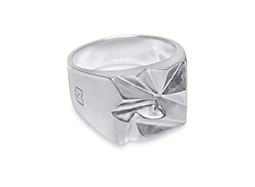 Sprezzi Fashion Siegelring Herren silber aus massivem 925 Sterling Silber für Gravur | minimalistisch-moderner Männerring Schmuck aus Deutschland mit Geschenkbox (Zacken) (62 (19.7))
