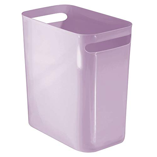 mDesign Slim Plastic Rectangular Large Trash Can Wastebasket, Garbage Container Bin with Handles for Bathroom, Kitchen, Home Office, Dorm, Kids Room - 12' High, Shatter-Resistant - Wisteria Purple
