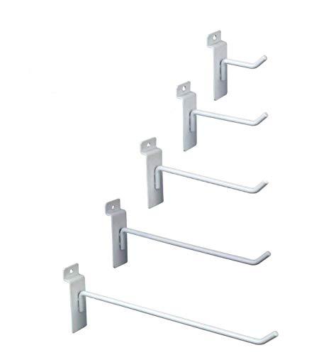 Only Hangers Commercial Grade White Slatwall Hooks - Combo Pack of 100 Assorted Size White Peg Hooks for Slatwall - (20) of Each 2',4',6', 8' and 10' Hooks