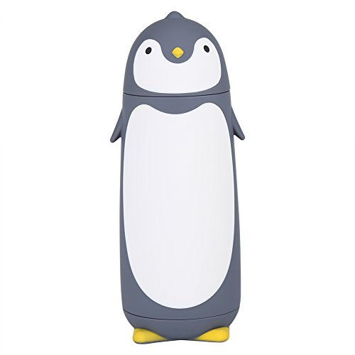 Botella de agua portátil - 300 ml portátil lindo pingüino botella de agua de vidrio doble capa taza taza de viaje (gris)