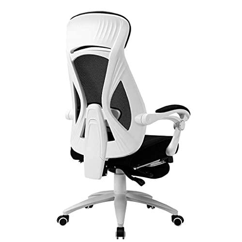 XKUN Computerstuhl Home Office Arbeitsstuhl Gaming Chair Ergonomischer Bequemer Sitzender Stuhl Student Desk Lift Chair Drehbar,Weiß,52 * 50 * 124 cm