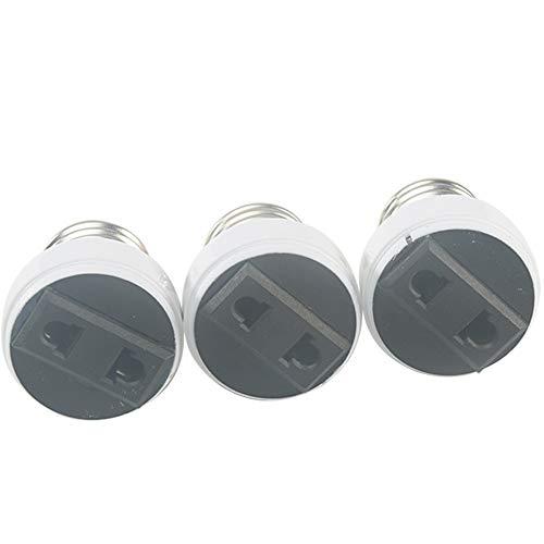 1/3 Stück E27 Lampenfassung, weiße ABS-Lampensockel, US/EU Stecker, E27-Adapter, Zubehör, Umschaltung auf zweipolige Steckdose für Zuhause und Studio, Tageslicht(3pcs)