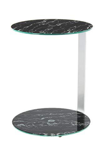 BuyDream Mesita Auxiliar Equentin 525 Plateada/Negra, la Base del Marco se Puede Usar como Espacio de Almacenamiento Adicional, Mesa Redonda y Placa Base, 40 cm (L/D) x 40 cm (W) x 53 cm (H)