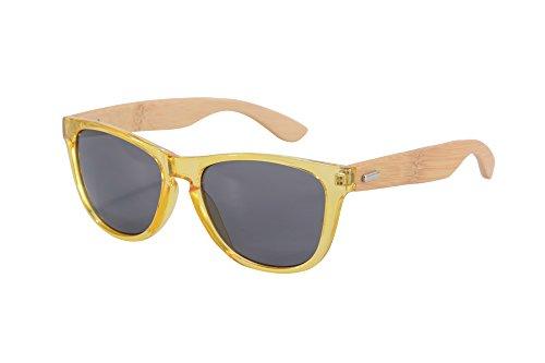 SHINU Madera UV400 Gafas de Sol de Destello Colorido de la Lente del Espejo de Madera Gafas-Z6100(yellow-bamboo nature, grey)