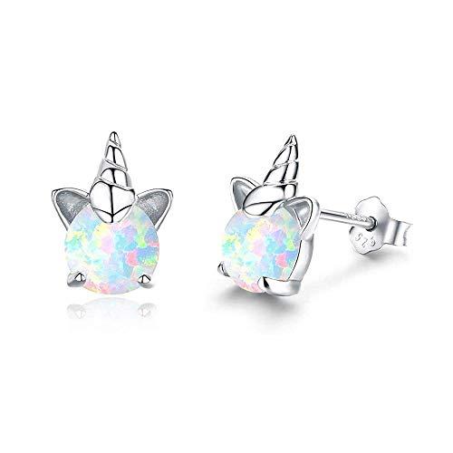 Creativo de los niños de la joyería de cobre con incrustaciones de ópalo blanco ópalo unicornio gato oído pendientes de los niños
