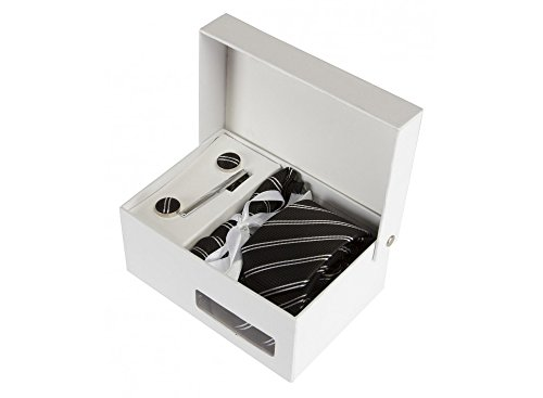 Coffret Brasilia - Cravate slim noire à rayures blanches et noires, boutons de manchette, pince à cravate, pochette de costume
