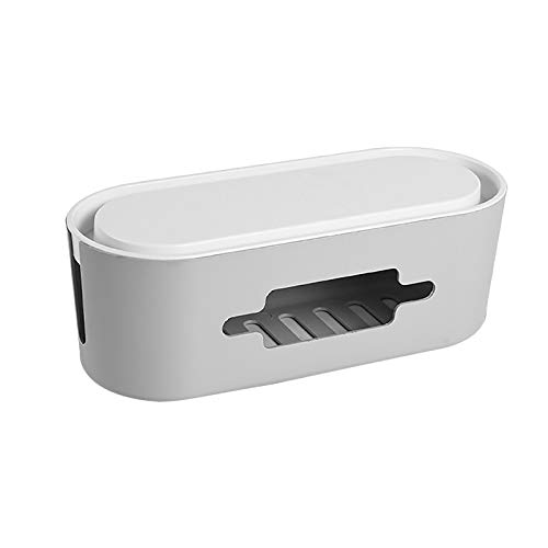 Kabelbox Kabel-Kabelmanagement-Box Kabelbox Kabelkiste für maximale Sicherheit im Haushalt - Kabel Organizer zum Verstauen von Steckdosenleisten, Ladeadaptern, Routern UVM. (Grau)