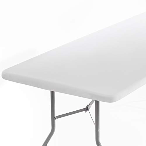 Signature Home 6ft Fitted Tablecloth Rectangle White Table Cover - Table Cloth - Fitted Table Covers for 6 Foot Tables. Washable Picnic Table Cover Indoor Outdoor Elastic Tablecloth 30 x 72 inch