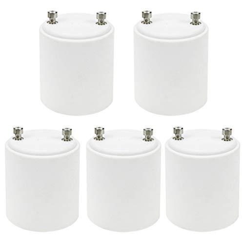 Quluxe Adaptador GU24 a E26 E27 resistente al calor hasta 200 ℃, resistente al fuego, convierte la base de pines GU24 a casquillo estándar E26 E27, color blanco (paquete de 5)
