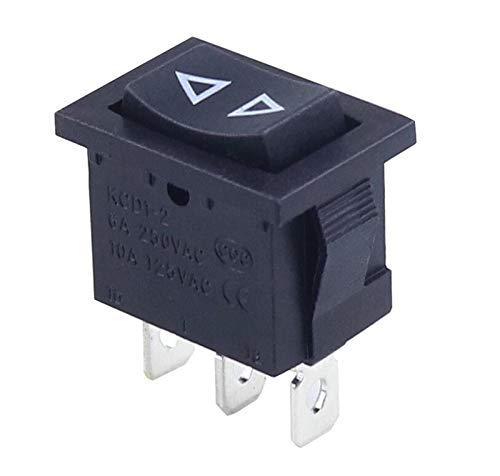 HGLNBN Interruptor basculante 10 pcs pequeña Negro Interruptor 3 Pin Rocker AC 6A / 250V 10A / 125V KCD1 (Color : 3PIN Reset)