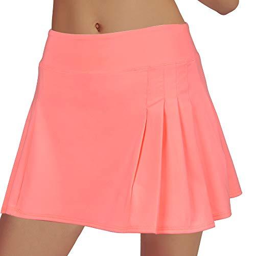 RainbowTree Women's Tennis Skirt Golf Skort Pleated with Side Inner Pockets Indoor Exercise,Runs Small (Pink Orange, S)