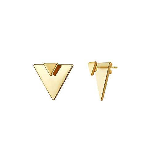 LOYATA Open Triangle Geometric Earring, 14K Gold Plated Unique Piercing Stud Earring Ear Jacket Dangle Earrings for Women…