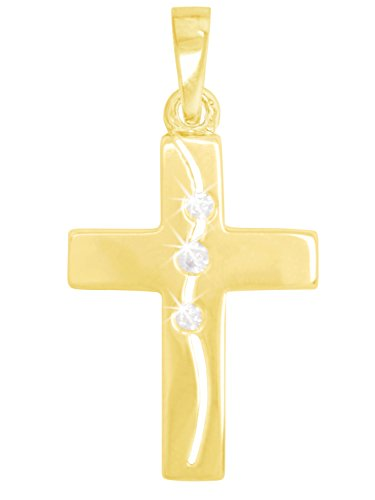 MyGold kruis hanger (zonder ketting) geel goud 333 goud (8 karaat) glans met steen zirkonia 24mm x 14mm geschenken voor vrouwen communie gouden kruis ketting kerstgeschenken Bliss V0012610