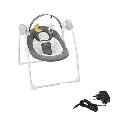 Badabulle Komfort-Moonlight elektrische Babywippe + Netzkabel, Babyschaukel, mit 3 Schaukelgeschwindigkeiten, Timer und 8 Melodien