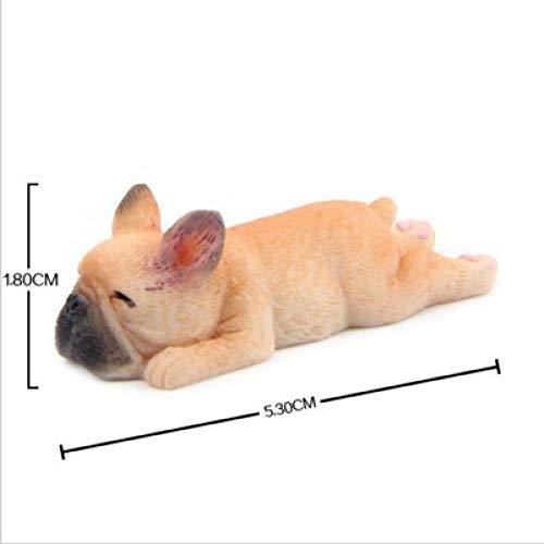 DIAOSUJIA Skulptur,Hellbraun Liegend Harz Französische Bulldogge Figurine Niedlichen Kleinen Hund Liegend Modell Shiba Inu Hund Miniaturen Für Kühlschrank Kühlschrank Home Decor